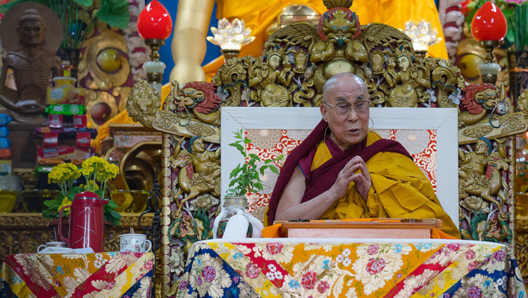 His Holiness the Dalai Lama during the the second day of teachings at the Main Tibetan Temple in Dharamsala, HP, India on March 14, 2017. Photo by Tenzin Choejor/OHHDL