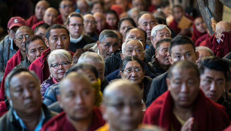 Members of the audience listening to His Holiness the Dalai Lama's teachings at the Main Tibetan Temple in Dharamsala, HP, India on March 14, 2017. Photo by Tenzin Choejor/OHHDL
