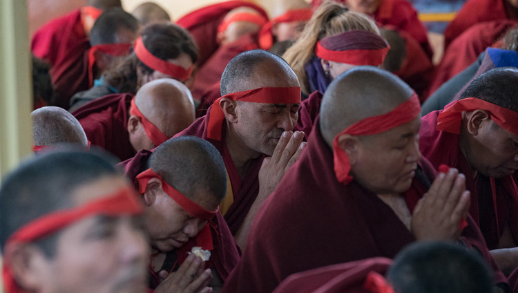 Members of the monastic community wearing ritual blindfolds during the Avalokiteshvara Empowerment given by His Holiness the Dalai Lama at the Main Tibetan Temple in Dharamsala, HP, India on March 14, 2017. Photo by Tenzin Choejor/OHHDL