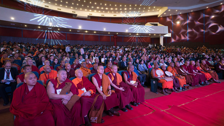 Delegates to the International Conference on the Relevance of Buddhism in the 21st Century attending the inaugural session at the Nalanda International Convention Center in Rajgir, Bihar, India on March 17, 2017. Photo by Tenzin Choejor/OHHDL