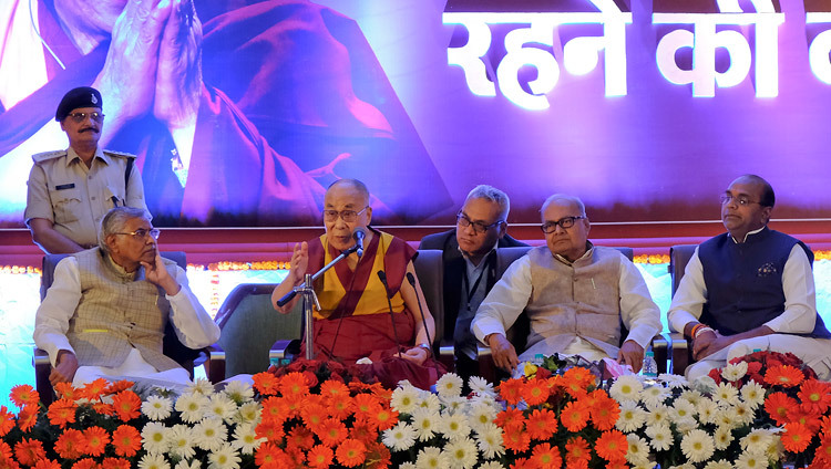His Holiness the Dalai Lama speaking on The Art of Happiness in Bhopal, Madhya Pradesh, India on March 19, 2017. Photo by Chemey Tenzin/OHHDL