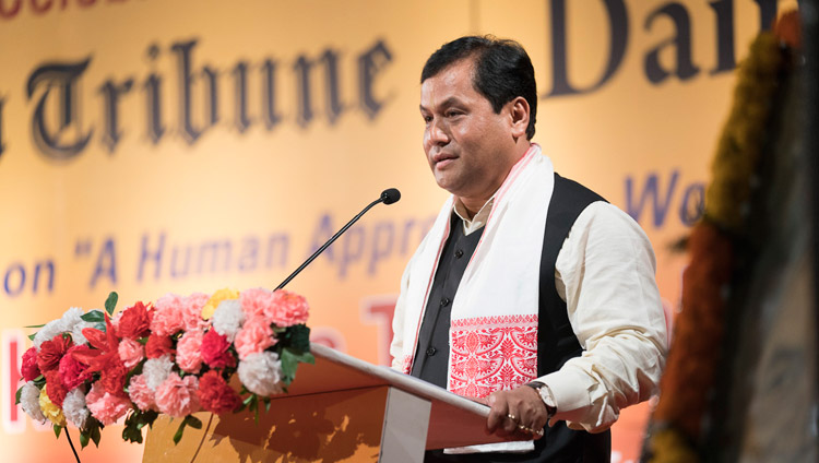 Chief Minister of Assam Sarbananda Sonowal speaking at at the Platinum Jubilee Celebration of the Assam Tribune in Guwahati, Assam, India on April 1, 2017. Photo by Tenzin Choejor/OHHDL