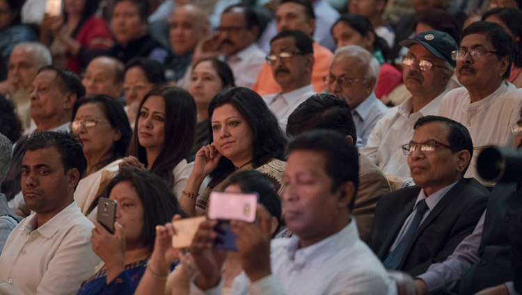 Members of the audience listening to His Holiness the Dalai Lama at the Platinum Jubilee Celebration of the Assam Tribune at the ITA Centre for Performing Arts in Guwahati, Assam, India on April 1, 2017. Photo by Tenzin Choejor/OHHDL