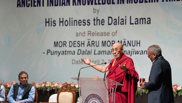 His Holiness the Dalai Lama speaking on Ancient Indian Knowledge in Modern Times at Guwahati University Auditorium in Guwahati, Assam, India on April 2, 2017. Photo by Tenzin Choejor/OHHDL