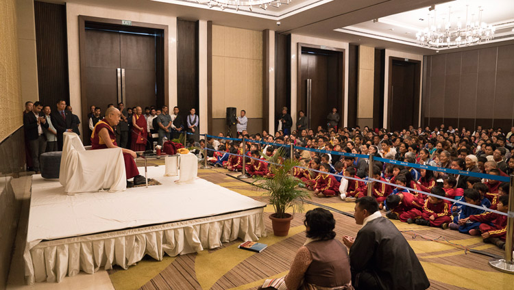 His Holiness the Dalai Lama meeting with members of the Tibetan community from Northeast India in Guwahati, Assam, India on April 2, 2017. Photo by Tenzin Choejor/OHHDL