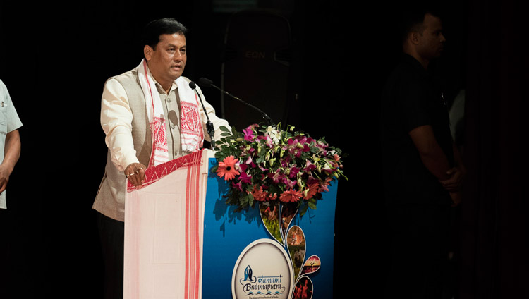 Assam Chief Minister Shri Sarbananda Sonowal addressing the audience at the Namami Brahmaputra Festival in Guwahati, Assam, India on April 2, 2017. Photo by Tenzin Choejor/OHHDL