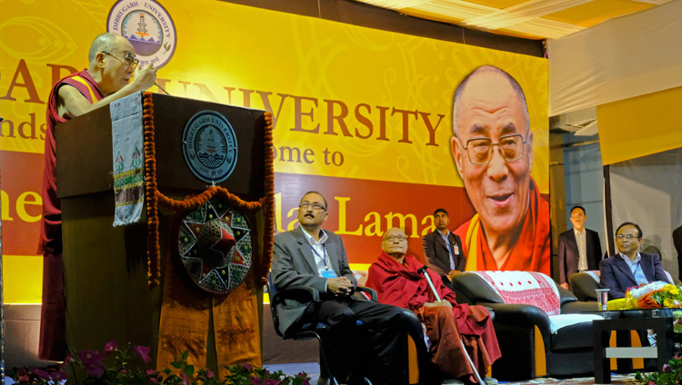 His Holiness the Dalai Lama addressing over 1100 students and faculty at Dibrugarh University in Dibrugarh, Assam, India on April 3, 2017. Photo by Ven Lobsang Kunga/OHHDL