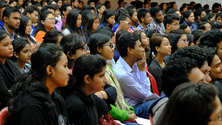 Some of the more than 1100 students and faculty attending His Holiness the Dalai Lama's talk at Dibrugarh University in Dibrugarh, Assam, India on April 3, 2017. Photo by Ven Lobsang Kunga/OHHDL