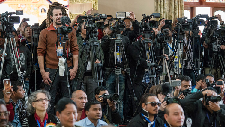 Members of the media at the inaugural ceremony of the new temple at Thubsung Dhargyeling Monastery in Dirang, Arunachal Pradesh, India on April 6, 2017. Photo by Tenzin Choejor/OHHDL