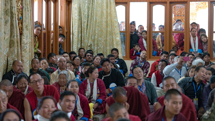 Members audience listening to His Holiness the Dalai Lama speaking at Thubsung Dhargyeling Monastery in Dirang, Arunachal Pradesh, India on April6, 2017. Photo by Tenzin Choejor/OHHDL