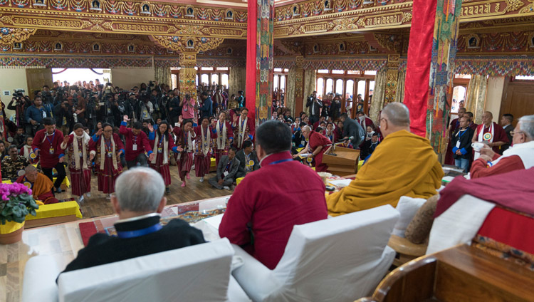 Members of the lay community debating Buddhist philosophy in front of His Holiness the Dalai Lama at Thubsung Dhargyeling Monastery in Dirang, Arunachal Pradesh, India on April 6, 2017. Photo by Tenzin Choejor/OHHDL