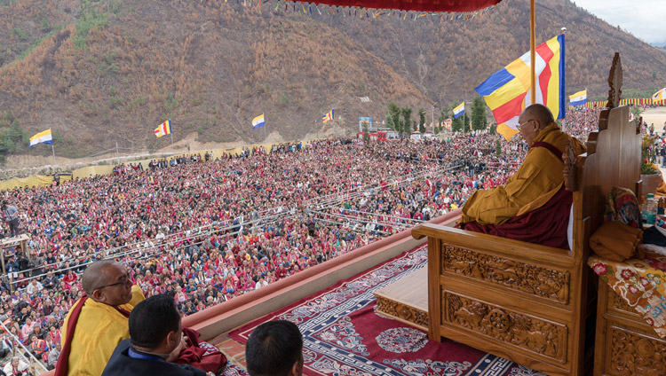 His Holiness the Dalai Lama speaking to a crowd of 20,000 in Dirang, Arunachal Pradesh, India on April 6, 2017. Photo by Tenzin Choejor/OHHDL