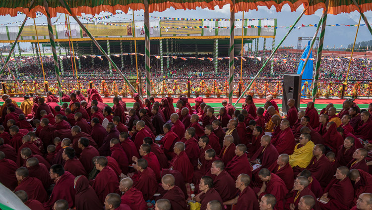 Some of the more than 50,000 people attending His Holiness the Dalai Lama's teaching at the Yiga Choezin teaching ground in Tawang, Arunachal Pradesh, India on April 8, 2017. Photo by Tenzin Choejor/OHHDL