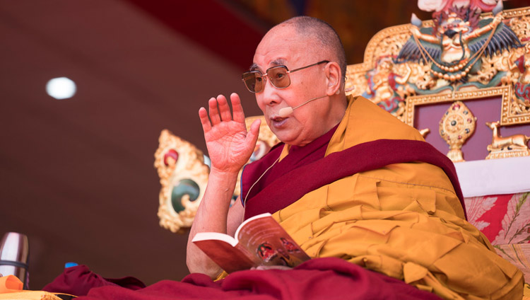 His Holiness the Dalai Lama during his teaching at the Yiga Choezin teaching ground in Tawang, Arunachal Pradesh, India on April 8, 2017. Photo by Tenzin Choejor/OHHDL