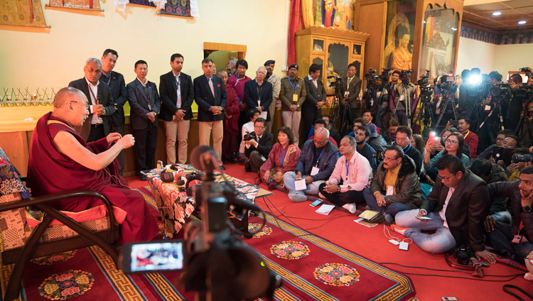 His Holiness the Dalai Lama speaking with members of the press at Yiga Choezin in Tawang, Arunachal Pradesh, India on April 8, 2017. Photo by Tenzin Choejor/OHHDL