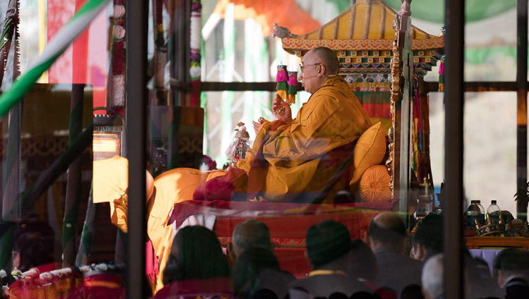His Holiness the Dalai Lama performing preparatory rituals for the Avalokiteshvara Empowerment at the Yiga Choezin teaching ground in Tawang, Arunachal Pradesh, India on April 9, 2017. Photo by Tenzin Choejor/OHHDL