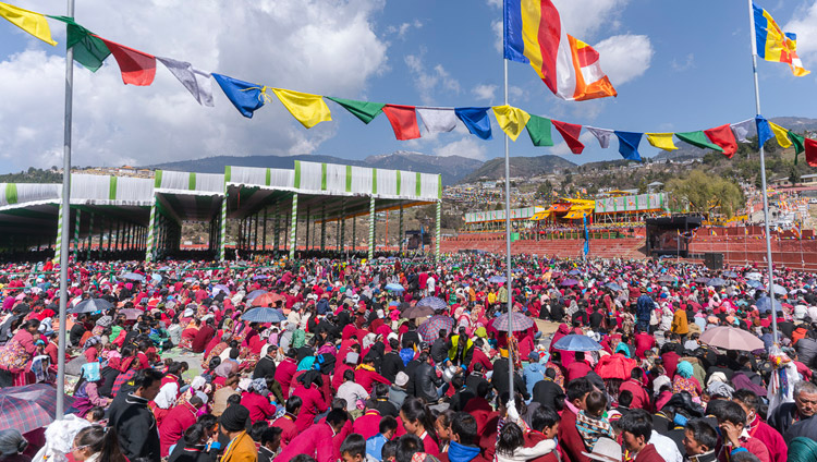 A view of many of the 50,000 people attending the second day of His Holiness the Dalai Lama's teachings at the Yiga Choezin teaching ground in Tawang, Arunachal Pradesh, India on April 9, 2017. Photo by Tenzin Choejor/OHHDL