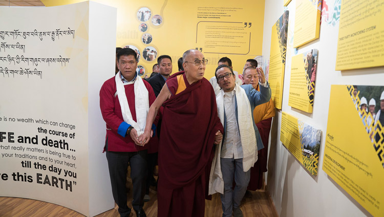 His Holiness the Dalai Lama, accompanied by Arunachal Chief Minister Pema Khandu, viewing exhibits at the Dorjee Khandu Memorial Museum in Tawang, Arunachal Pradesh, India on April 9, 2017. Photo by Tenzin Choejor/OHHDL