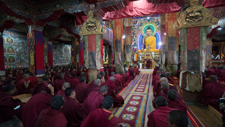 His Holiness the Dalai Lama speaking to the monks of Tawang Monastery in Tawang, Arunachal Pradesh, India on April 9, 2017. Photo by Tenzin Choejor/OHHDL