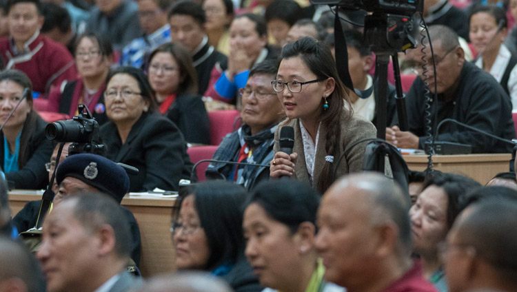 A member of the audience asking His Holiness the Dalai Lama a question during his talk at the Kalawangpo Convention Centre in Tawang, Arunachal Pradesh, India on April 10, 2017. Photo by Tenzin Choejor/OHHDL