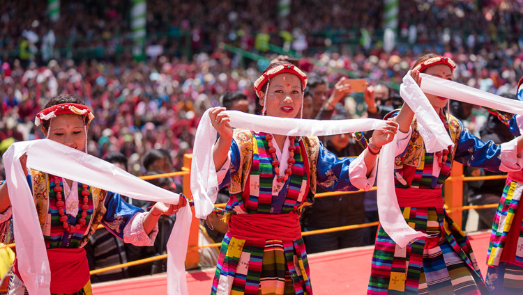 Local artists performing traditional songs as part of the closing ceremony on the final day of His Holiness the Dalai Lama's teachings at the Yiga Choezin teaching ground in Tawang, Arunachal Pradesh, India on April 10, 2017. Photo by Tenzin Choejor/OHHDL