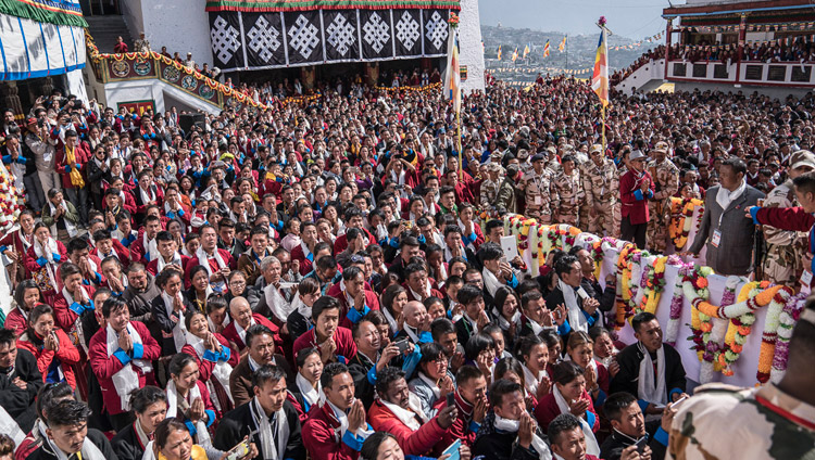 The courtyard of Tawang Monastery packed with people from Mon and Bhutan listening to His Holiness the Dalai Lama in Tawang, Arunachal Pradesh, India on April 11, 2017. Photo by Tenzin Choejor/OHHDL