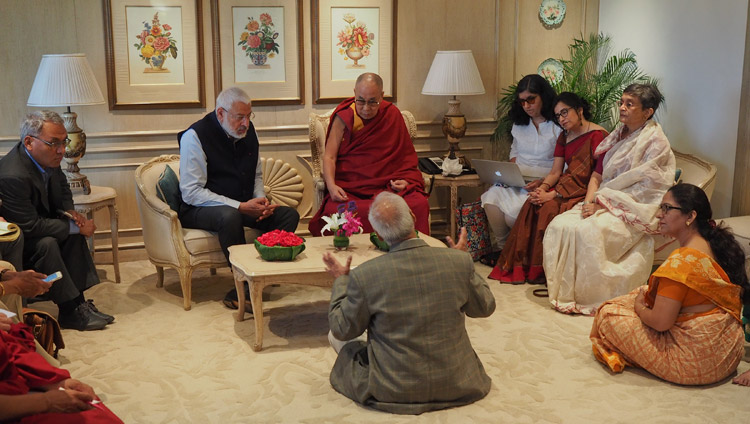His Holiness the Dalai Lama meeting with the Core Committee working on the Curriculum for Universal Ethics in New Delhi, India on April 27, 2017. Photo by Jeremy Russell/OHHDL
