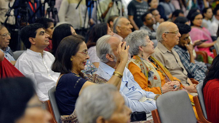 Members of the audience listening to His Holiness the Dalai Lama at the Indian International Centre in New Delhi, India on April 27, 2017. Photo by Lobsang Tsering/OHHDL