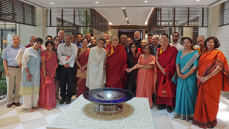 His Holiness the Dalai Lama with members of the Core Committee Working on the Curriculum for Universal Values after their meeting in New Delhi, India on April 28, 2017. Photo by Jeremy Russell/OHHDL