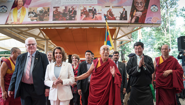 Members of the bipartisan US Congressional Delegation, His Holiness the Dalai Lama and President of the Central Tibetan Administration Dr Lobsang Sangay arriving at the Tsuglagkhang courtyard to attend a public reception in Dharamsala, HP, India on May 10, 2017. Photo by Tenzin Choejor/OHHDL