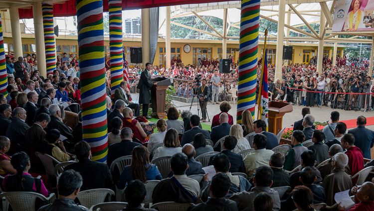 President of the Central Tibetan Administration Dr Lobsang Sangay speaking at the public reception for the bipartisan US Congressional Delegation at the Tsuglagkhang courtyard in Dharamsala, HP, India on May 10, 2017. Photo by Tenzin Choejor/OHHDL