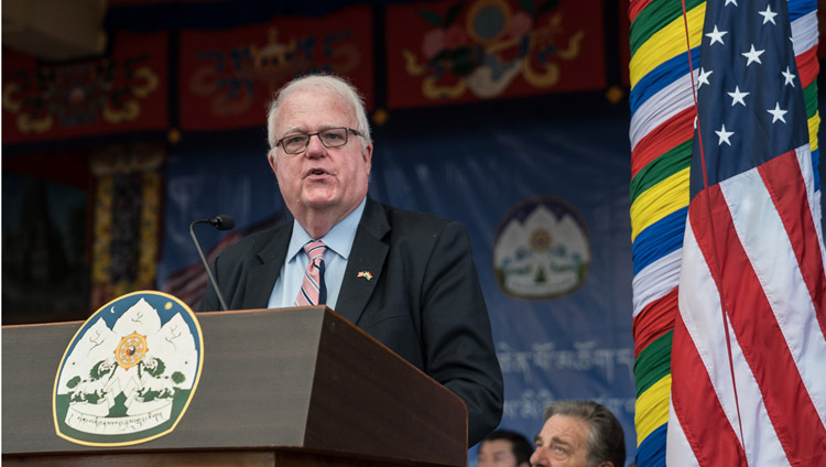 Representative Jim Sensenbrenner speaking at the public reception for the bipartisan US Congressional Delegation at the Tsuglagkhang courtyard in Dharamsala, HP, India on May 10, 2017. Photo by Tenzin Choejor/OHHDL