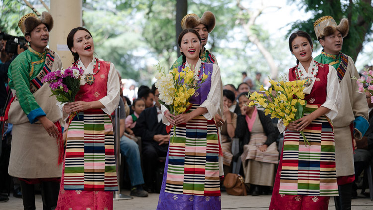 Artists from TIPA performing a song composed to celebrate His Holiness the Dalai Lama's 80th Birthday at the public reception for the bipartisan US Congressional Delegation at the Tsuglagkhang courtyard in Dharamsala, HP, India on May 10, 2017. Photo by Tenzin Choejor/OHHDL
