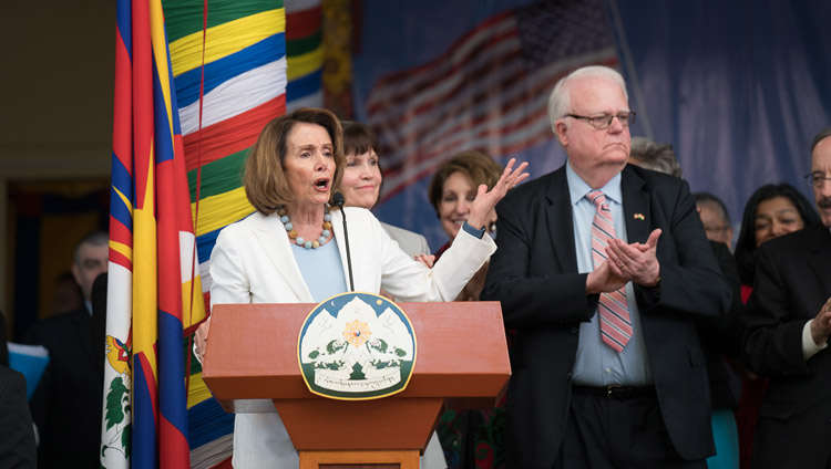 Representative Nancy Pelosi speaking at the public reception for the bipartisan US Congressional Delegation at the Tsuglagkhang courtyard in Dharamsala, HP, India on May 10, 2017. Photo by Tenzin Choejor/OHHDL