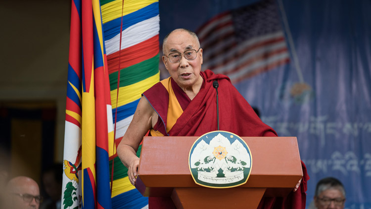 His Holiness the Dalai Lama speaking at the public reception for the bipartisan US Congressional Delegation at the Tsuglagkhang courtyard in Dharamsala, HP, India on May 10, 2017. Photo by Tenzin Choejor/OHHDL