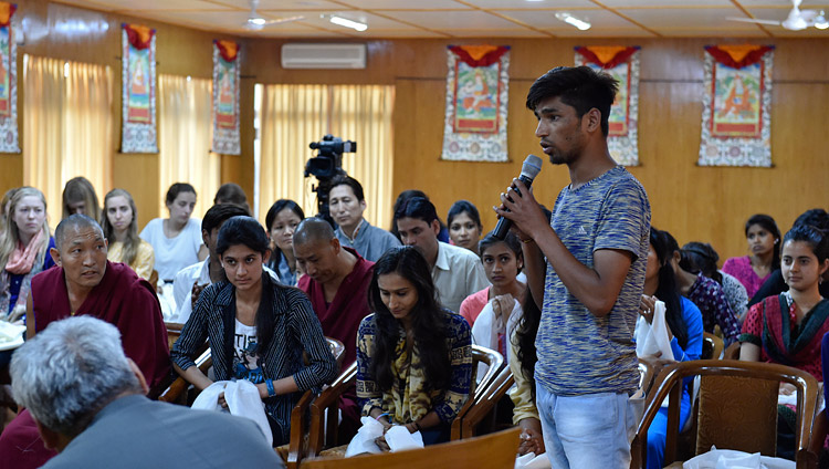 A student explaining his experiences in training in secular ethics during a meeting with His Holiness the Dalai Lama at his residence in Dharamsala, HP, India on May 19, 2017. Photo by Ven Tenzin Damchoe/OHHDL