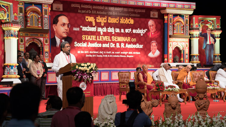 Karnataka Chief Minister Siddaramaiah, speaking at the State Level Seminar on 'Social Justice and Dr BR Ambedkar' in Bengaluru, Karnataka, India on May 23, 2017. Photo by Tenzin Choejor/OHHDL