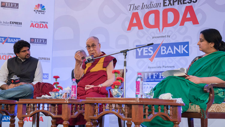 Anant Goenka, Executive Director and Vandita Mishra, National Opinions Editor of the Indian Express group look on as His Holiness the Dalai Lama addresses the audience at an Indian Express Adda in New Delhi, India on May 24, 2017. Photo by Tenzin Choejor/OHHDL