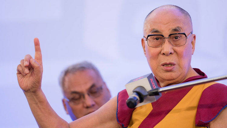 His Holiness the Dalai Lama speaking at an Indian Express Adda in New Delhi, India on May 24, 2017. Photo by Tenzin Choejor/OHHDL