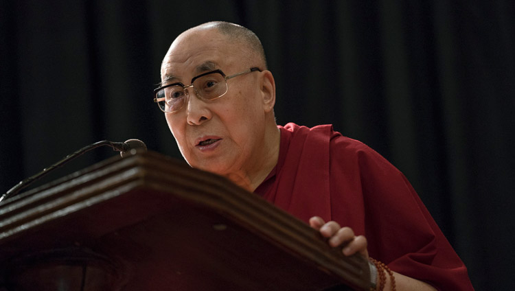 "His Holiness the Dalai lama addressing the audience at the launch of Arun Shourie's book ""Two Saints"" at the Indian International Centre in New Delhi, India on May 25, 2017. Photo by Tenzin Choejor/OHHDL"
