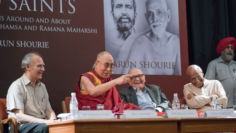 "Alan Shourie, Fali Nariman and Shyam Saran enjoying a moment of laughter as His Holiness the Dalai Lama answers a question from the audience at the launch of ""Two Saints"" at the Indian International Centre in New Delhi, India on May 25, 2017. Photo by Tenzin Choejor/OHHDL"