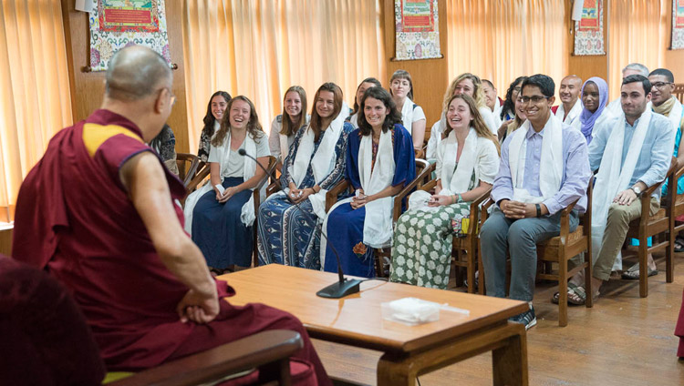 His Holiness the Dalai Lama speaking to a group of students from Emory University at his residence in Dharamsala, HP, India on May 29, 2017. Photo by Tenzin Choejor/OHHDL
