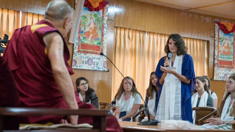 A student from Emory University asking His Holiness the Dalai Lama a question during their meeting at his residence in Dharamsala, HP, India on May 29, 2017. Photo by Tenzin Choejor/OHHDL