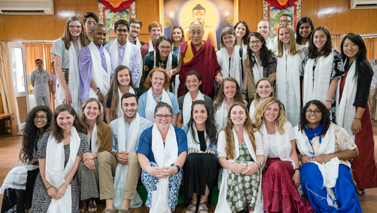 His Holiness the Dalai Lama with students from Emory University taking part in the Emory Tibetan Mind/Body Sciences Summer Abroad Program after their meeting at his residence in Dharamsala, HP, India on May 29, 2017. Photo by Tenzin Choejor/OHHDL