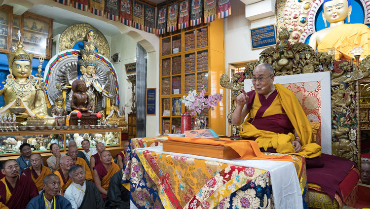 His Holiness the Dalai Lama speaking during the second day of his three day teaching for Tibetan youth at the Main Tibetan Temple in Dharamsala, HP, India on June 6, 2017. Photo by Tenzin Choejor/OHHDL