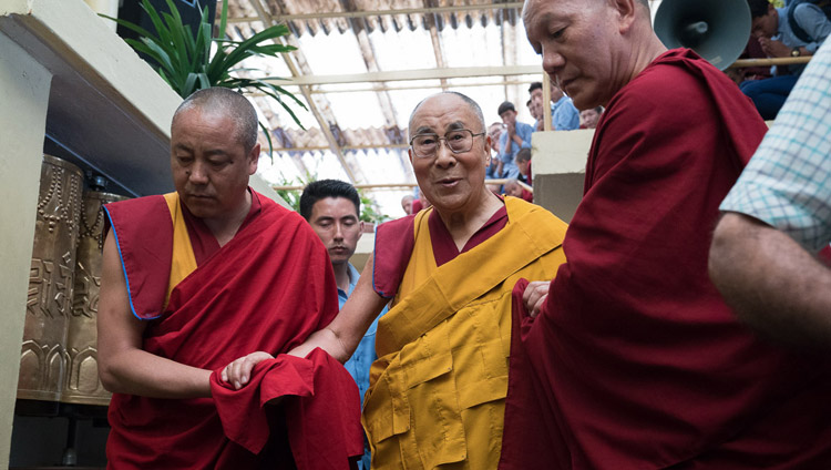 His Holiness the Dalai Lama arriving at the Main Tibetan Temple for the final day of his three day teaching for Tibetan youth in Dharamsala, HP, India on June 7, 2017. Photo by Tenzin Choejor/OHHDL
