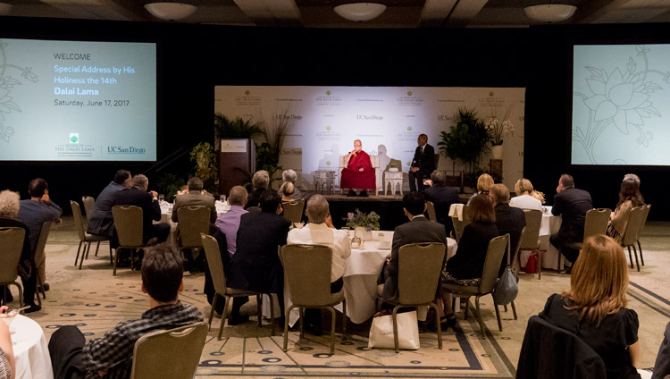His Holiness the Dalai Lama speaking at a luncheon with the Leadership of the University of California San Diego in San Diego, CA, on June 17, 2017. Photo by Erik Jepsen/UC San Diego