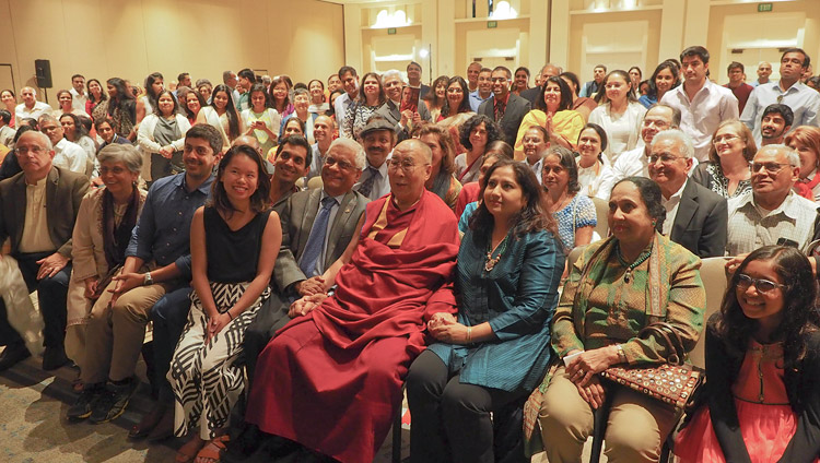 His Holiness the Dalai Lama with members of the Indian community during their meeting in San Diego, CA, USA on June 18, 2017. Photo by Jeremy Russell/OHHDL