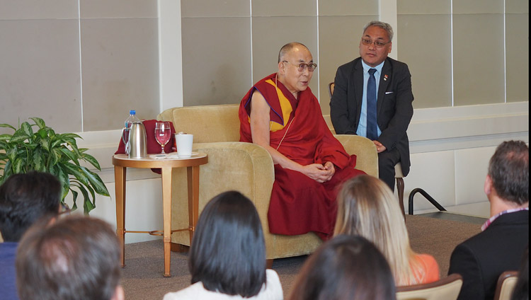 His Holiness the Dalai Lama speaking to members of the Young Presidents' Organization (YPO) in Newport Beach, CA, USA on June 19, 2017. Photo by Jeremy Russell/OHHDL
