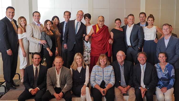 His Holiness the Dalai Lama with members of the Young Presidents' Organization (YPO) in Newport Beach, CA, USA on June 19, 2017. Photo by Jeremy Russell/OHHDL